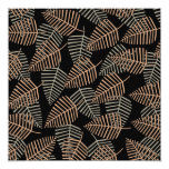 Tropical Leaf Pattern in Brown, Gray and Black. Invite