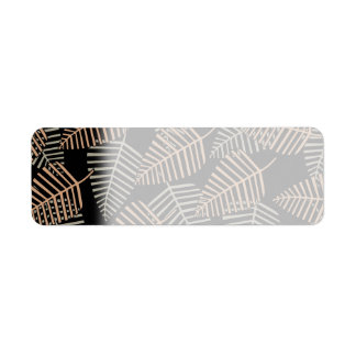 Tropical Leaf Pattern in Brown, Gray and Black. Return Address Label