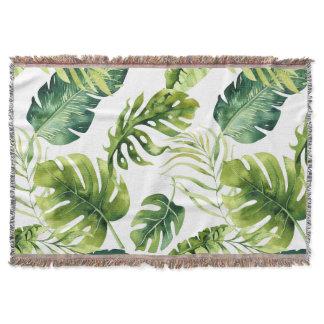 tropical leaf print blanket