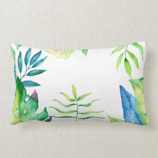 tropical leaf watercolor  leaves lumbar pillow