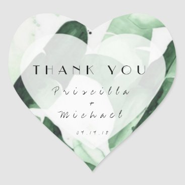 Tropical Leaf Watercolor Thank You Sticker