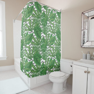Tropical Leaf Zig Zag | Shower Curtain