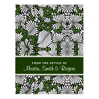 Tropical Leafy Retro Print in Green and White Postcard