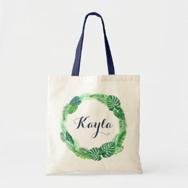 Beach Themed Tropical Leas Tote Bag. Personalized Tote Bag