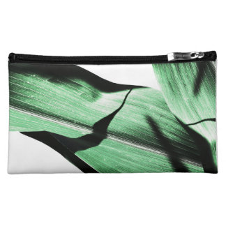 Tropical leaves abstract plant medium cosmetic bag
