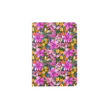 Tropical leaves and flowers passport holder