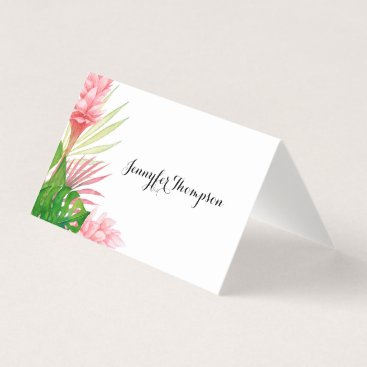 Beach Themed Tropical leaves and flowers place card