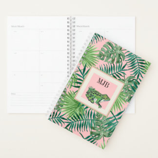 Tropical Leaves and Frog on Pink Background Planner