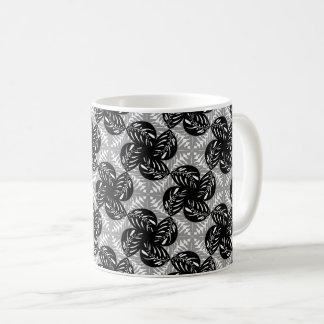 Tropical Leaves B&W, Gray Tessellation Mug #2