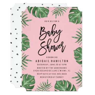 Beach Themed Tropical Leaves | Baby Shower Invitation