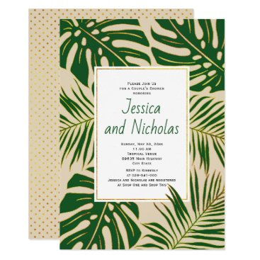 Beach Themed Tropical leaves beige wedding couple's shower card