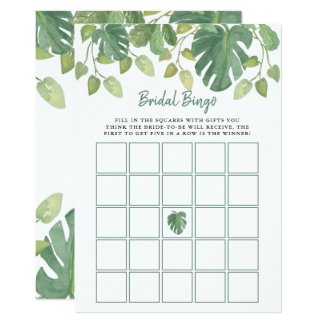 Tropical Leaves | Bridal Shower Bingo Game Invitation
