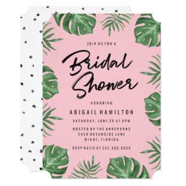 Beach Themed Tropical Leaves   Bridal Shower Invitation