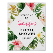 Tropical Leaves Bridal Shower Welcome Poster
