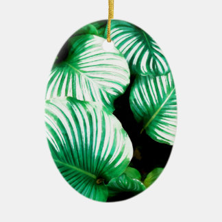 Tropical Leaves Ceramic Ornament