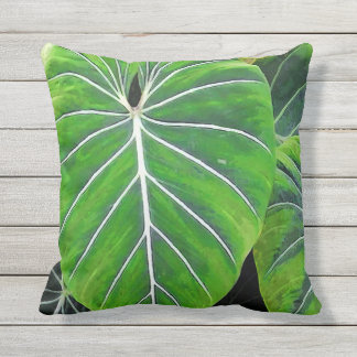 Tropical Leaves, Elephant Ears, Dark Green Throw Pillow