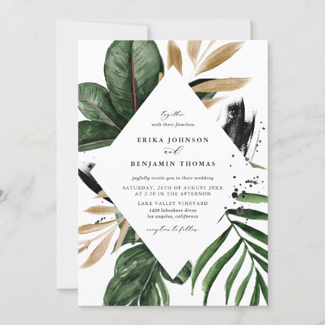 Tropical Leaves Faux Gold Foil Frame Wedding Invitation