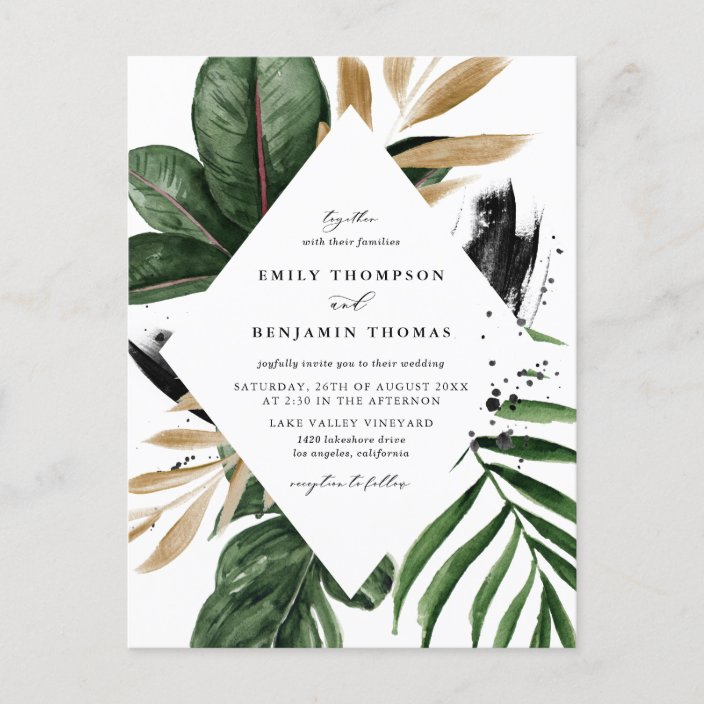 Tropical Leaves Faux Gold Foil Wedding Invitation Postcard Zazzle Com We have a huge range of card making products available. tropical leaves faux gold foil wedding invitation postcard zazzle com