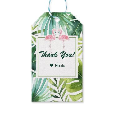 Beach Themed Tropical Leaves & Flamingos Hawaiian Wedding Favor Gift Tags