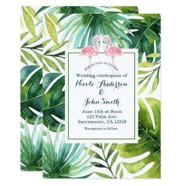 printabledigidesigns Tropical Leaves & Flamingos Wedding Invitations
