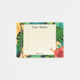 Tropical Leaves Floral Pencil Post It Notes