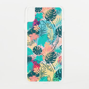 Tropical leaves & flowers collage pattern iPhone XS max case