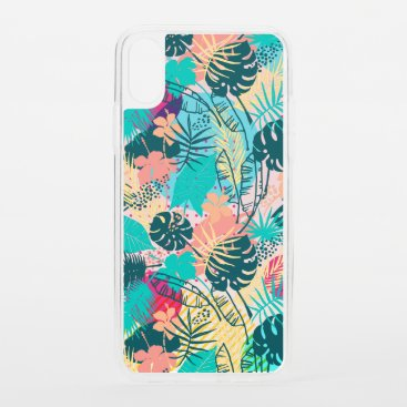 Tropical leaves & flowers collage pattern iPhone XS case