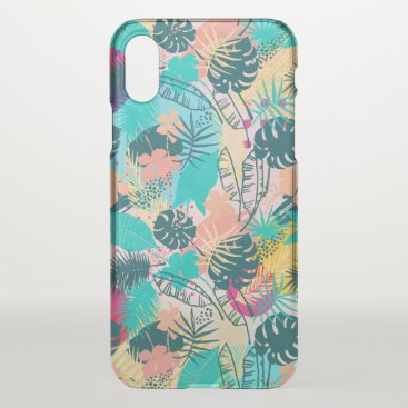Tropical leaves & flowers collage pattern iPhone x case