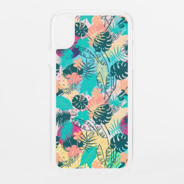 Tropical leaves & flowers collage iPhone XR case