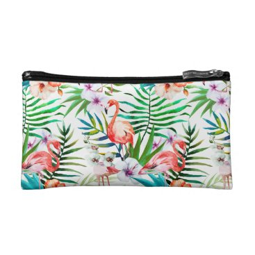 Beach Themed Tropical leaves, flowers, flamingos Cosmetic Bag