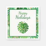 Tropical Leaves Foliage Beach Lights Holiday Party Napkin