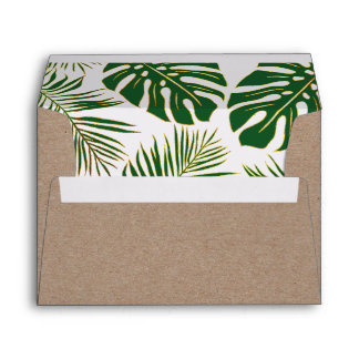 Tropical leaves green and gold rustic wedding envelope