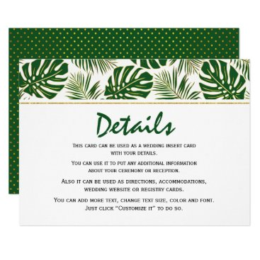 Beach Themed Tropical leaves green and gold wedding insert card