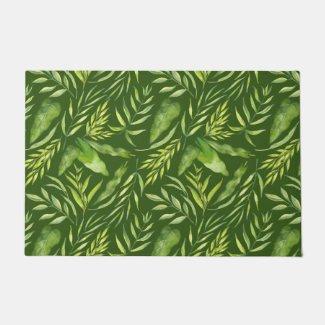 Tropical Leaves Green Floor Mat