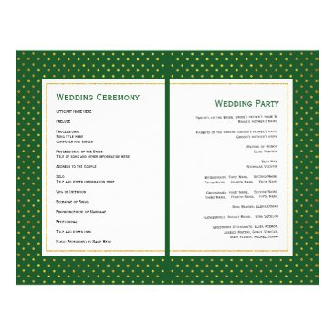 Beach Themed Tropical leaves green gold folded wedding program
