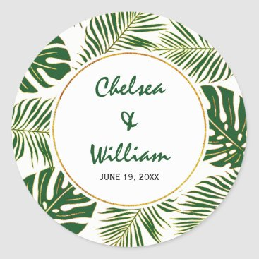 Tropical leaves green gold Save the Date wedding Classic Round Sticker