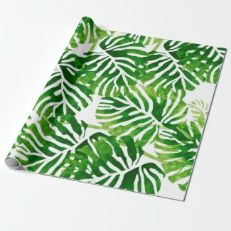 Tropical Leaves - Green Wrapping Paper