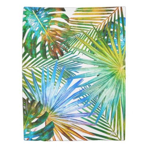 Tropical Leaves Greenery Botanical Photography Duvet Cover