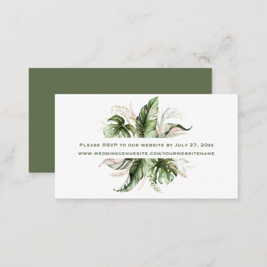 Tropical Leaves Greenery RSVP to Website   Enclosure Card