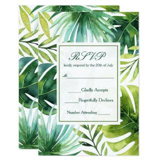 Tropical Leaves Hawaiian Summer Wedding RSVP Card
