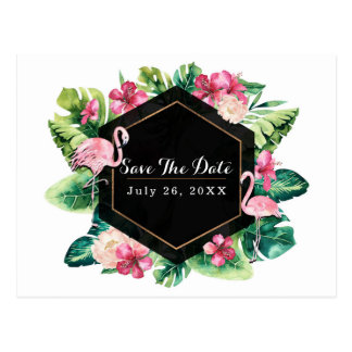 Tropical Leaves Hibiscus Flamingos Save the Date Postcard