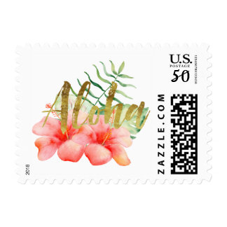Tropical Leaves Hibiscus Floral Watercolor Aloha Postage