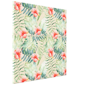 Tropical Leaves Hibiscus Floral Watercolor Canvas Print