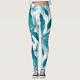 Tropical Leaves in Teal