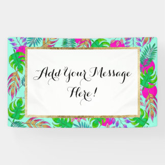 Tropical Leaves in Vibrant Watercolor Pattern Banner