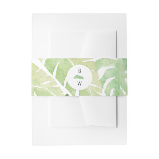 Tropical Leaves in Watercolor with Monogram Invitation Belly Band