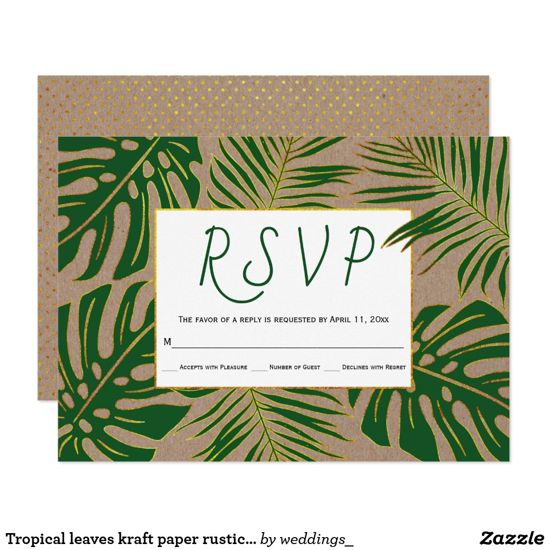 Tropical leaves kraft paper rustic wedding RSVP