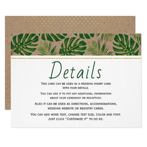 Tropical leaves kraft paper wedding insert card