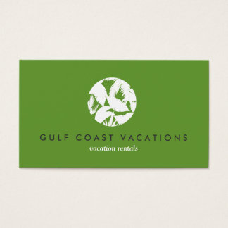 Tropical Leaves Logo on Green for Vacation Rental Business Card