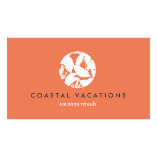 Tropical Leaves Logo on Orange for Vacation Rental Double-Sided Standard Business Cards (Pack Of 100)